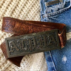 Accessories - Alpha leather western belt